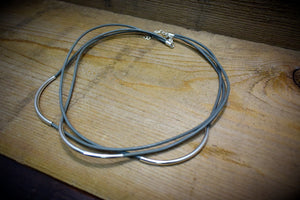 Gray Leather Silver Tube Multistrand Necklace Choose your Leather Cord 3 Strand Leather Curved  Silver Tube Leather Cord Necklace - Healing Atlas
