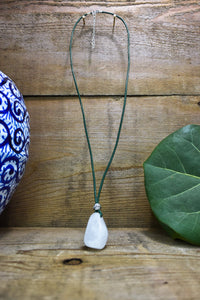 Crystal Quartz Leather Necklace Hand Drilled Crystal Quartz Pendant with Leather Cord of Your Choice Crystal Quartz Pendant Leather Necklace - Healing Atlas