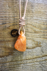 Orange Calcite Leather Necklace Choose your Leather Cord Adjustable Custom Hand Drilled Orange Calcite Leather Necklace Orange Calcite - Healing Atlas