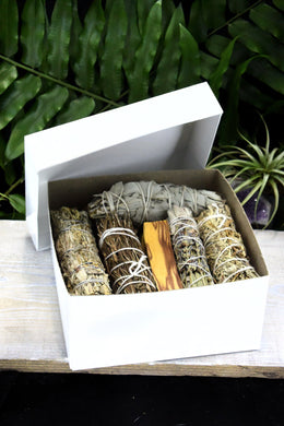 Ultimate Smudge Kit Bundle Palo Santo White Sage Rosemary, Mugwort, Shasta Desert and Sage & Lavender Smudge Ultimate Smudge Cleansing Kit