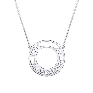 Round Custom Numeral Number Date Necklace  Roman Numerals Stainless Steel Personalized Name - Healing Atlas