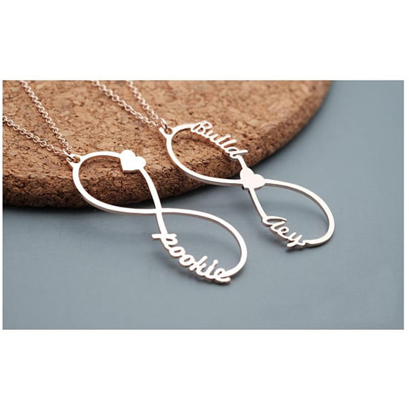 Stainless Steel Customized Name Any Fonts Personalized Jewelry Infinity Lover Two Names - Healing Atlas