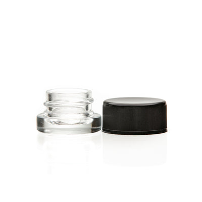 5ml Glass Clear Concentrate CR Jar with Black CR lid (504pcs)