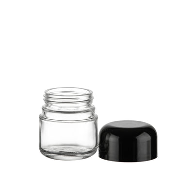Cannabis - 2oz Glass DOME CRC Jar Flint Jar With Black CRC Lids (200pcs)
