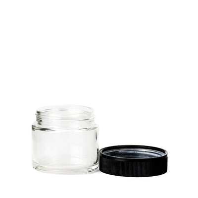 Cannabis - 2oz Glass Tall CRC Flint Jar  With Black CRC Lids (200pcs)