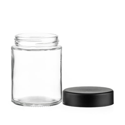 Cannabis - 4oz Glass Tall CRC Flint Jar With Black Smooth CRC Lids (100pcs)