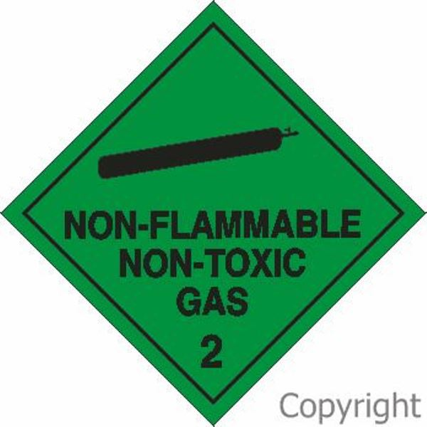 HAZCHEM Non-Flammable Non-Toxic Gas Sign