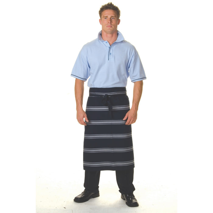 2332 - Blue & White Stripe 3/4 Apron - No Pocket
