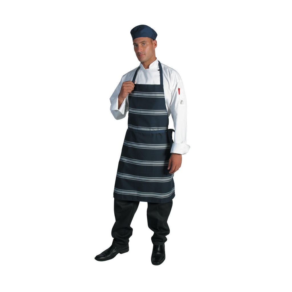 Blue & White Stripe Bib Apron - No Pocket