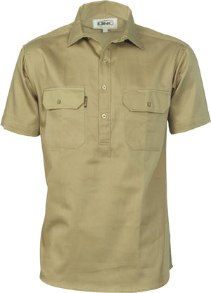 Cotton Drill Close Front Work Shirt - Short Sleeve