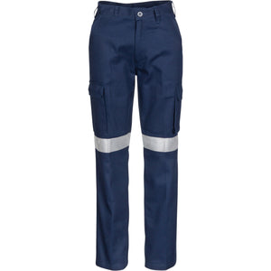 3323 -Ladies Cotton Drill Cargo Pants with 3M Reflective Tape