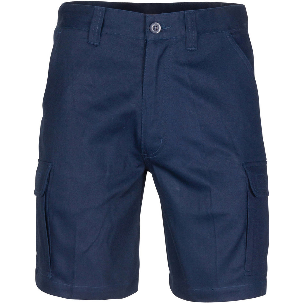 Middle Weight Cotton Double Slant Cargo Shorts - With Shorter Leg Length