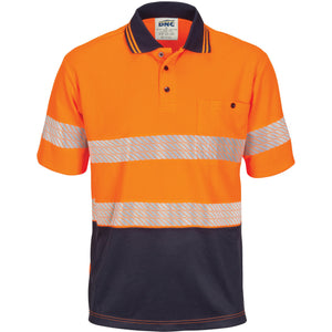 3511 - Hi Vis Segment Taped Mircomesh Polo - Short Sleeve