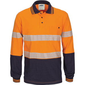 3516 - Hi Vis Segment Tape Cotton Jersey Polo - Long Sleeve