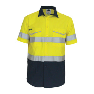 3587 - Two-Tone Rip Stop Cotton Shirt with CSR Reflective Tape. S/S