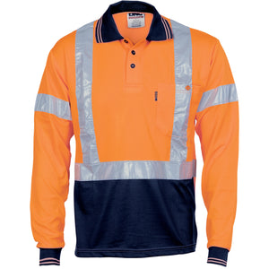 3714 - Hi Vis D/N Cool Breathe Polo Shirt with Cross Back R/Tape - Long Sleeve