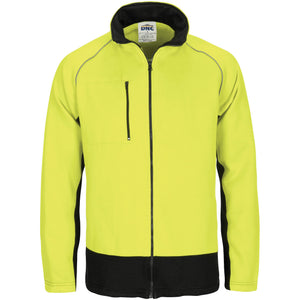 3725 - Hi Vis 2 Tone Full Zip Fleecy Sweat Shirt with Two Side Zipped Pockets