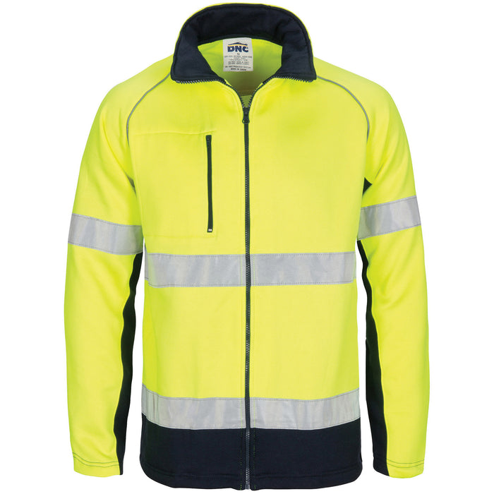 3726 - Hi Vis 2 Tone full zip fleecy sweat shirt CSR R/Tape