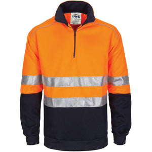 3729 - Hi Vis 1/2 Zip Fleecy with Hoop Pattern CSR Reflective Tape