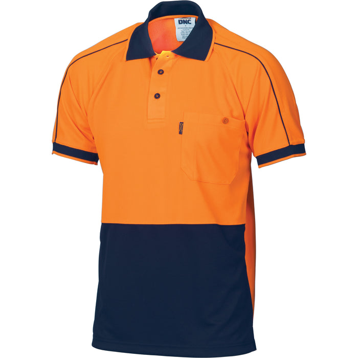 3753 - Hi Vis Cool-Breathe Double Piping Polo - Short Sleeve