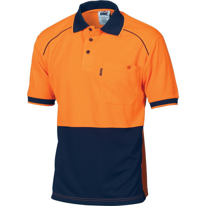3754 - Hi Vis Cool-Breathe Front Piping Polo - Short Sleeve