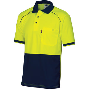 HiVis Cool-Breathe Front Piping Polo - Short Sleeve