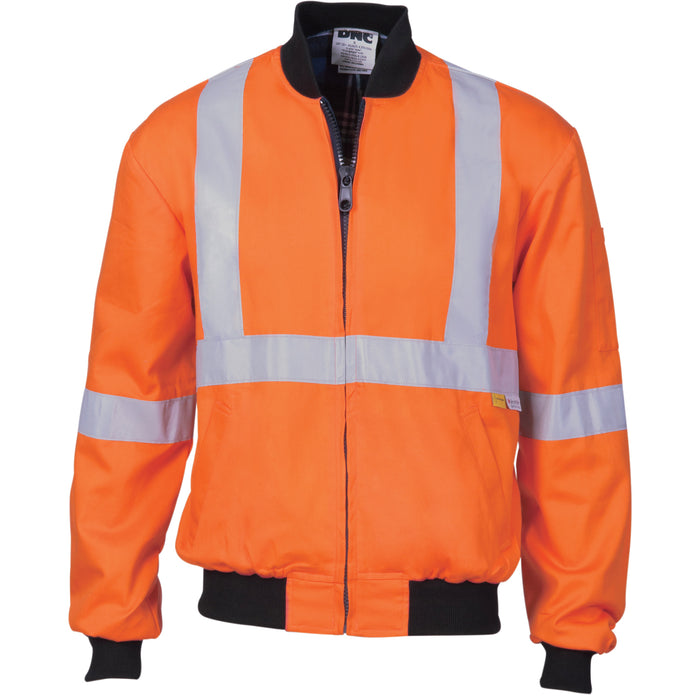 3759 - Hi Vis Cotton Bomber Jacket with 'X' Back & additional 3m r/Tape below