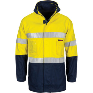 "3764 - Hi Vis ""4 IN 1"" Cotton Drill Jacket with Generic R/Tape"