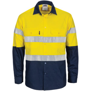 3782 - Hi Vis R/W Cool-Breeze T2 Vertical Vented Cotton Shirt with Gusset Sleeves, Generic R/Tape - Long Sleeve