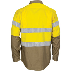 3784 - Hi Vis L/W Cool-Breeze T2 Vertical Vented Cotton Shirt with Gusset Sleeves. Generic Tape - Long sleeve