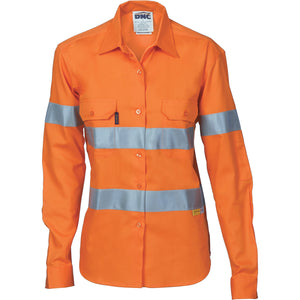 3785 - Ladies HiVis Cool-Breeze Cotton Shirt with 3M R/Tape - Long sleeve