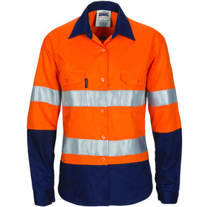 3786 - Ladies Hi Vis Cool-Breeze Cotton Shirt with CSR R/Tape - Long Sleeve