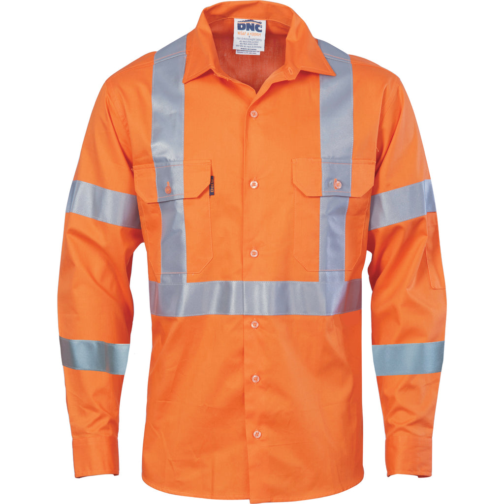 3789 - Hi Vis cool-breeze cotton shirt with double hoop on arms & 'X' back CSR R/tape - long sleeve