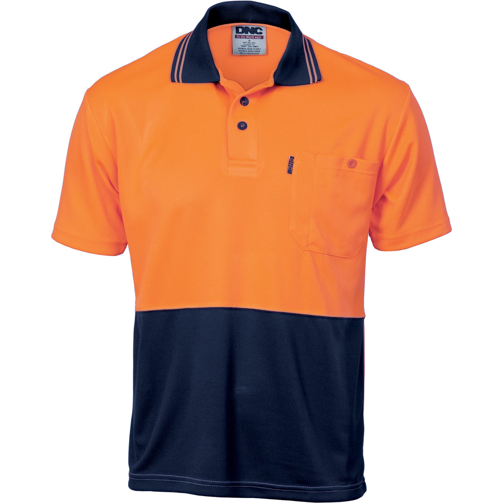 HiVis Two Tone Cool Breathe Polo Shirt, Short Sleeve