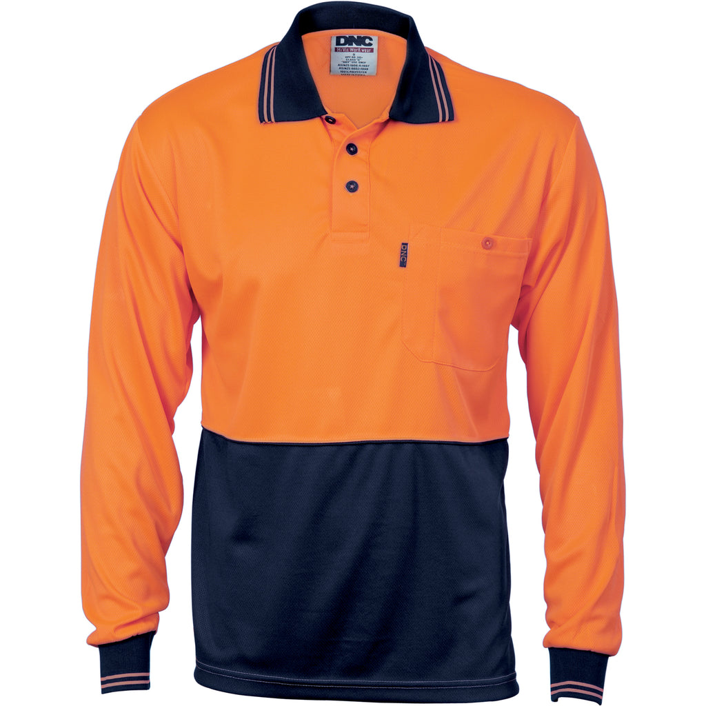 3813 - Hi Vis Two Tone Cool Breathe Polo Shirt, Long Sleeve