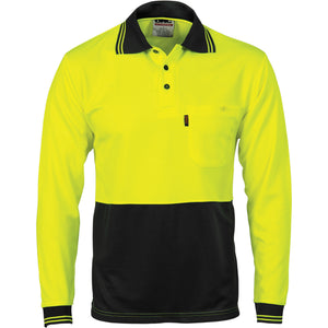 HiVis Two Tone Cool Breathe Polo Shirt, Long Sleeve