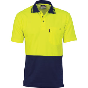 3814 - Cotton Back HiVis Two Tone Fluoro Polo - Short Sleeve