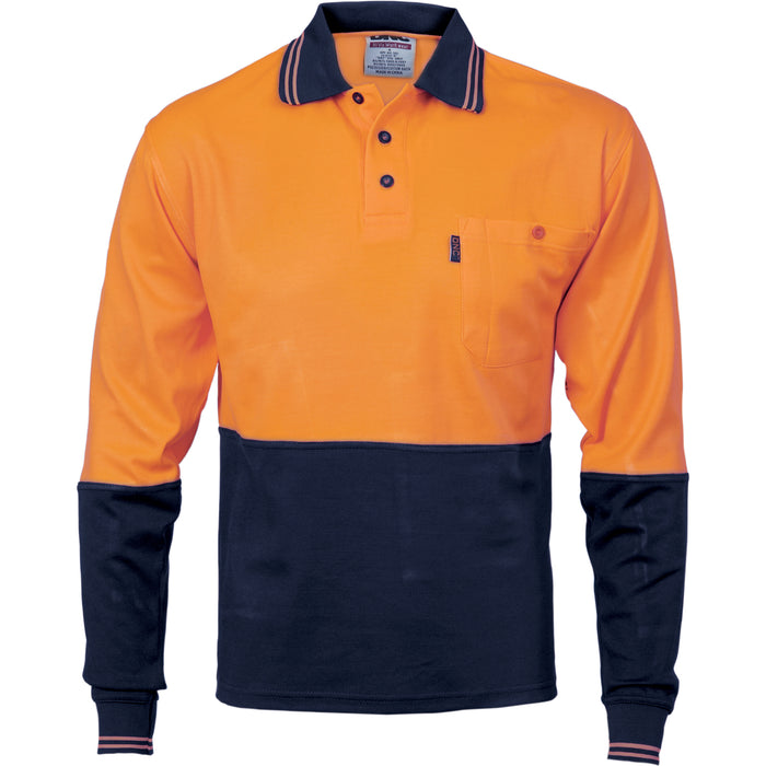 3816 - Cotton Back HiVis Two Tone Fluoro Polo - Long Sleeve
