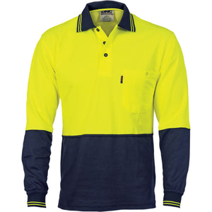 Cotton Back HiVis Two Tone Fluoro Polo - Long Sleeve