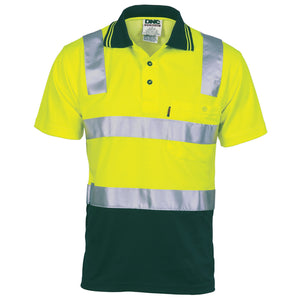 Cotton Back HiVis Two Tone Polo Shirt with CSR R/ Tape - Short sleeve