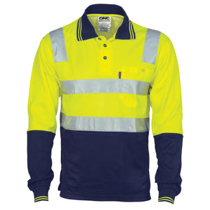 3818 - Cotton Back HiVis Two Tone Polo Shirt with CSR R/ Tape - L/S