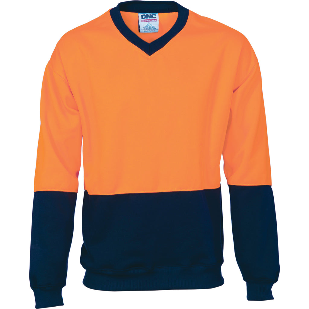 HiVis Two Tone Fleecy Sweat Shirt (Sloppy Joe) V-Neck