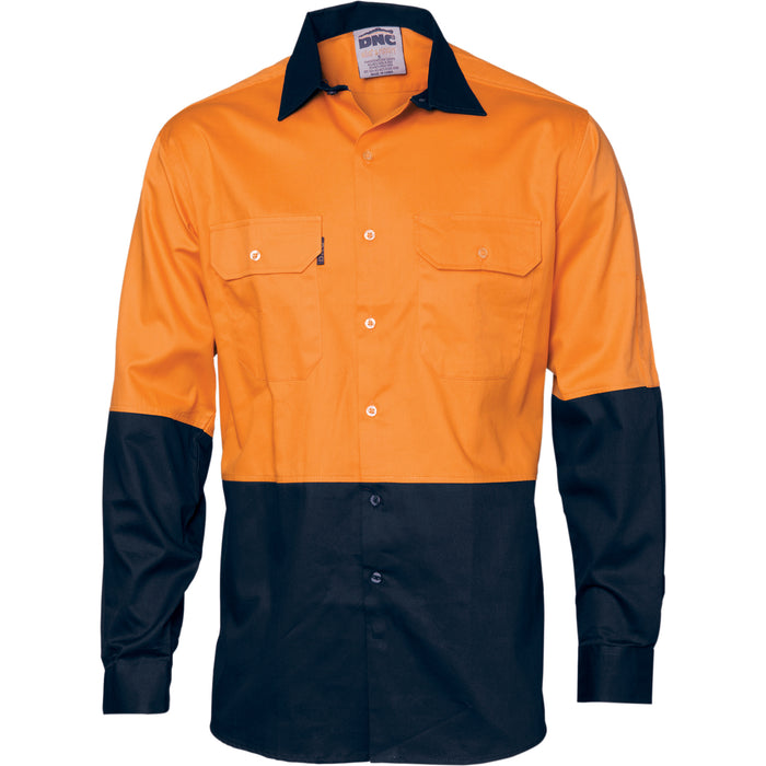 3832 - Hi Vis Two Tone Cotton Drill Shirt - Long Sleeve