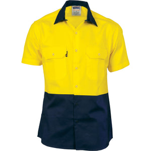 3939 - Hi Vis 2 Tone Cool-Breeze Cotton Shirt - Short Sleeve