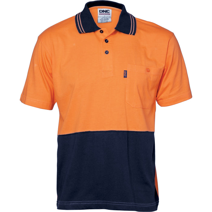 HiVis Cool-Breeze Cotton Jersey Polo Shirt with Under Arm Cotton Mesh - S/S
