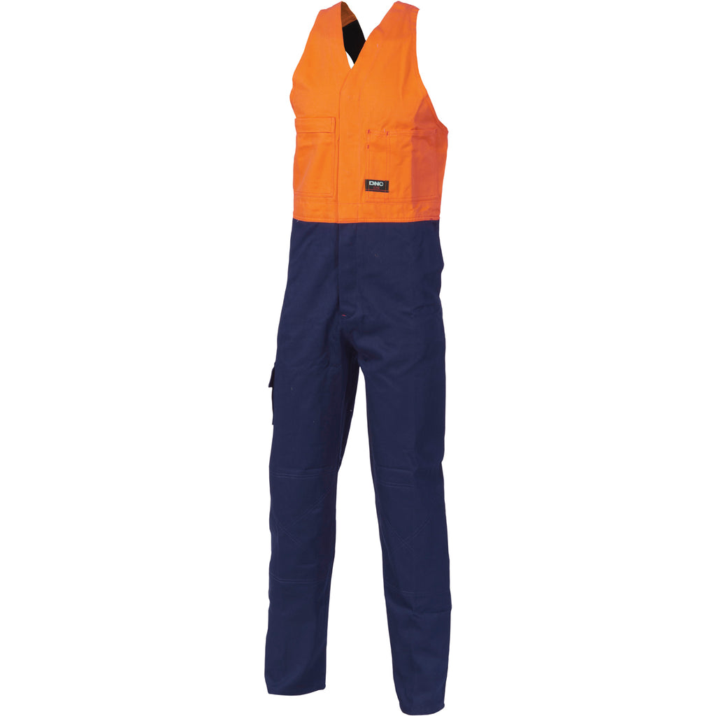3853 - Hi Vis Two Tone Cotton Action Back Overall