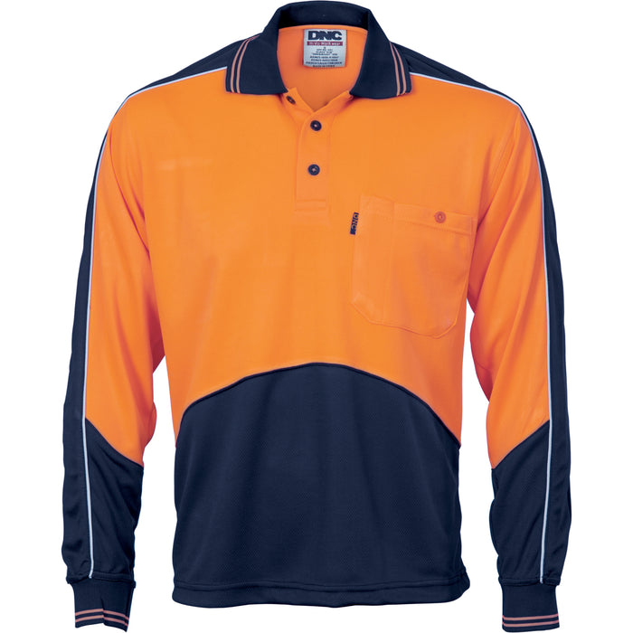 3892 - Hi Vis Cool Breathe Panel Polo Shirt - Long Sleeve