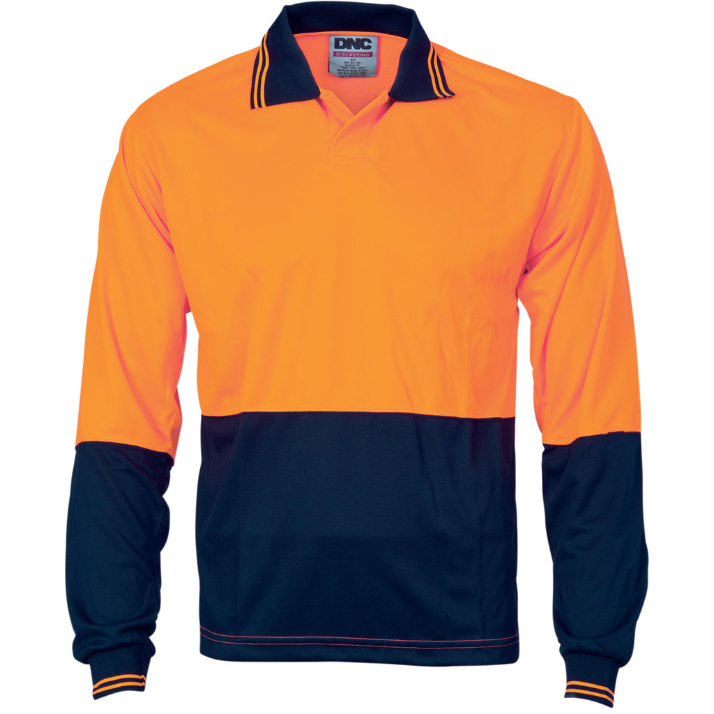 3904 - Hi Vis Two Tone Food Industry Polo - Long Sleeve