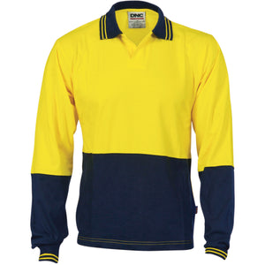 3906 - Hi Vis Cool Breeze Cotton Jersey Food Industry Polo - Long Sleeve