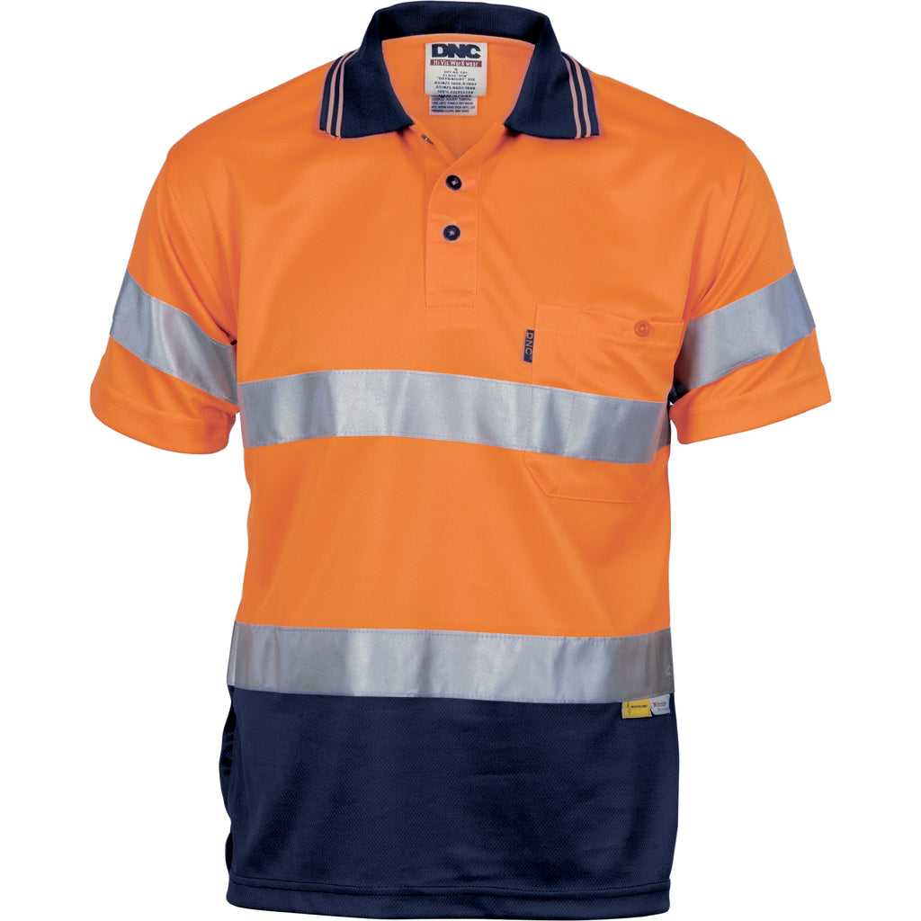 3911 - Hi Vis D/N Cool Breathe Polo Shirt With 3M 8906 R/Tape - Short Sleeve